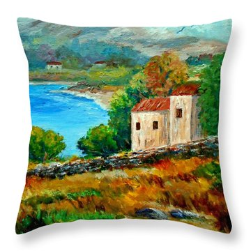 Old House In Mani Throw Pillow