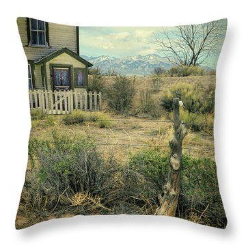 Old House Near Mountians Throw Pillow by Jill Battaglia