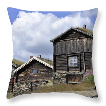 Old Houses In Roeros Throw Pillow