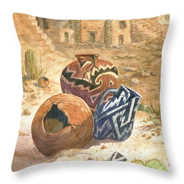 Throw Pillow featuring the painting Old Indian Pottery by Marilyn Smith