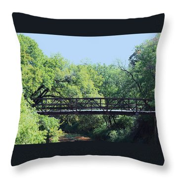 Throw Pillow featuring the photograph Old Iron Bridge Over Caddo Creek by Sheila Brown