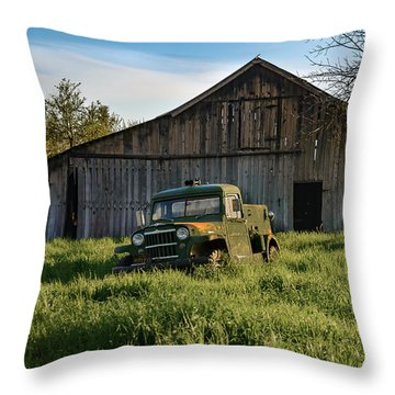 Old Jeep, Old Barn Throw Pillow