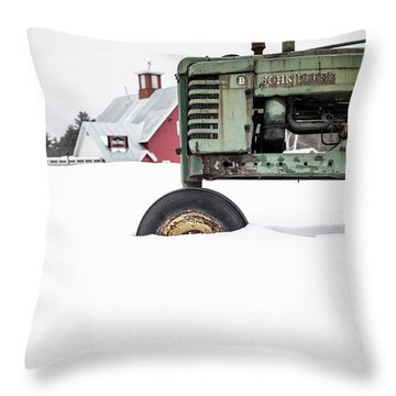 Throw Pillow featuring the photograph Old John Deere Tractor In The Snow Vermont by Edward Fielding