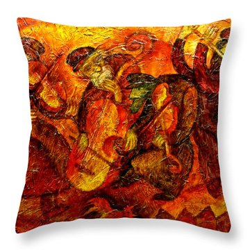 Old Klezmer Band Throw Pillow by Leon Zernitsky