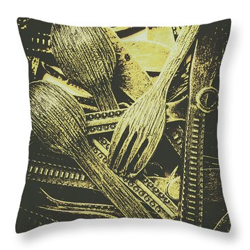 Old Knives Forks And Spoons Throw Pillow