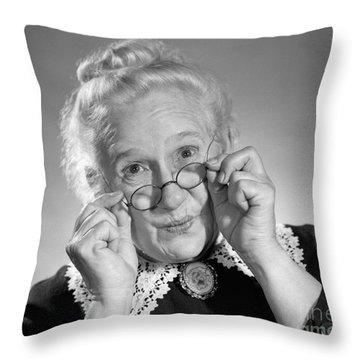 Old Lady Holding Her Glasses, C.1950s Throw Pillow