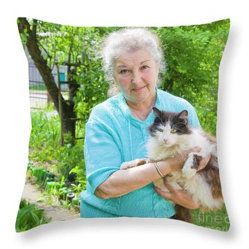 Old Lady With Cat Throw Pillow