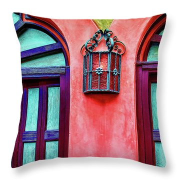 Throw Pillow featuring the photograph Old Lamp Between Windows by Gary Slawsky