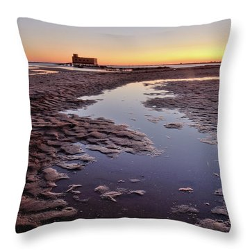 Old Lifesavers Building At Twilight Throw Pillow by Angelo DeVal