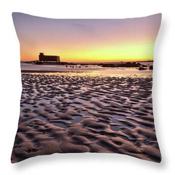 Old Lifesavers Building Covered By Warm Sunset Light Throw Pillow by Angelo DeVal