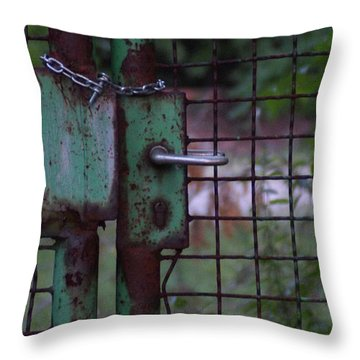 Old, Locked And Rusty Throw Pillow