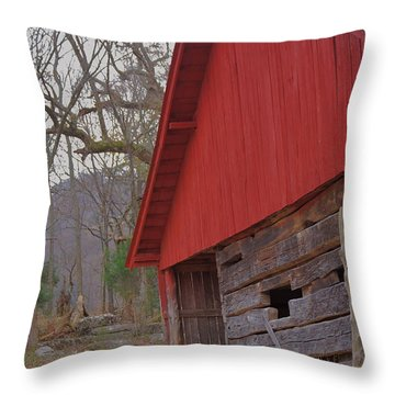 Throw Pillow featuring the photograph Old Log Barn by Debbie Karnes