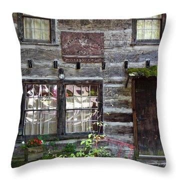 Old Log Building Throw Pillow