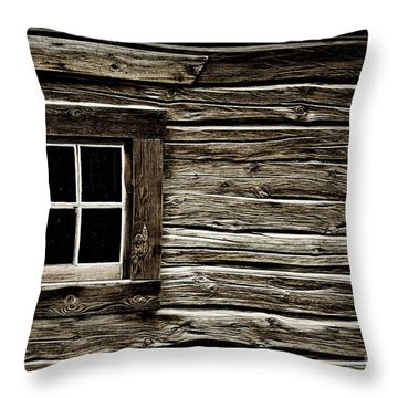 Throw Pillow featuring the photograph Old Log Cabin by Brad Allen Fine Art