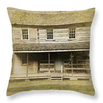 Throw Pillow featuring the photograph Old Log Cabin by Joan Reese