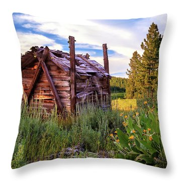 Old Lumber Mill Cabin Throw Pillow