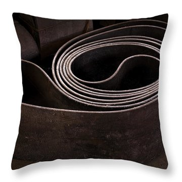 Old Machine Belt Throw Pillow by Tom Singleton