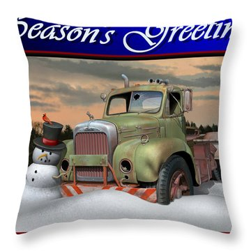Throw Pillow featuring the digital art Old Mack Christmas Card by Stuart Swartz