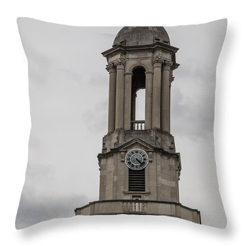 Old Main From Front Clock Throw Pillow by John McGraw
