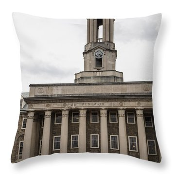 Old Main Penn State From Front  Throw Pillow by John McGraw