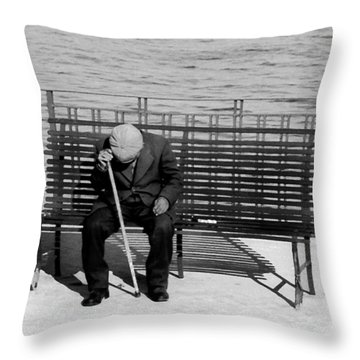 Old Man By The Sea Throw Pillow by Robert Lacy