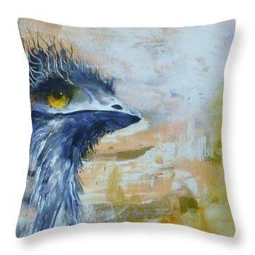 Throw Pillow featuring the painting Old Man Emu by Lyn Olsen
