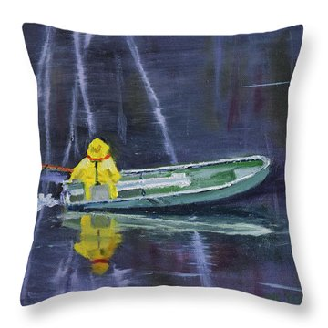 Old Man In A Boat Throw Pillow