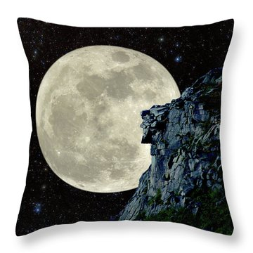Throw Pillow featuring the photograph Old Man / Man In The Moon by Larry Landolfi