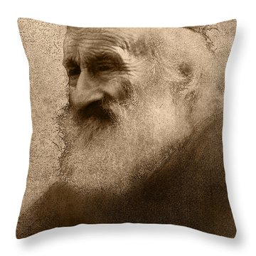 Old Man Of The Mountain Throw Pillow by Ron Jones