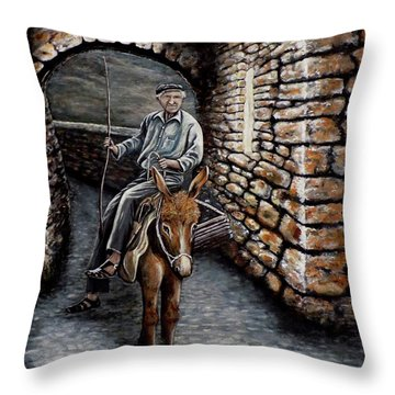Old Man On A Donkey Throw Pillow