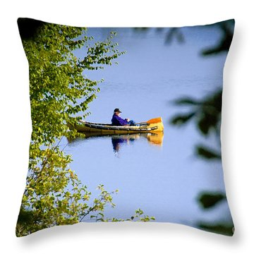 Old Man On The Lake Throw Pillow by David Lee Thompson