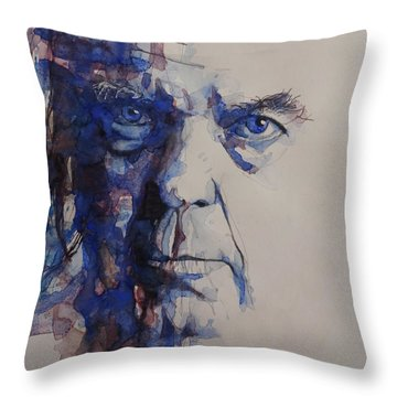 Throw Pillow featuring the painting Old Man - Neil Young  by Paul Lovering