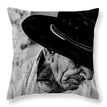 Old Man With A Hat Throw Pillow
