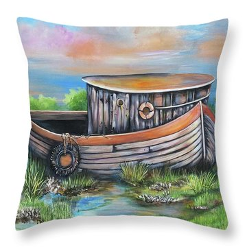 Old Mans Boat Throw Pillow
