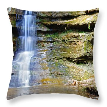 Old Man's Cave Waterfall Throw Pillow