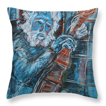 Old Man's Violin Throw Pillow