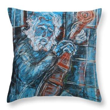 Old Man's Violin Throw Pillow