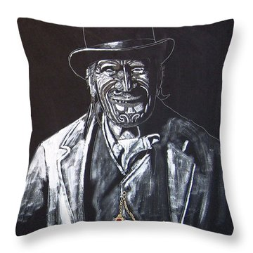 Throw Pillow featuring the painting Old Maori Tane by Richard Le Page