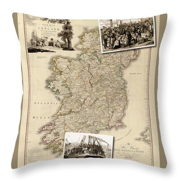 Vintage Map Of Ireland With Old Irish Woodcuts Throw Pillow