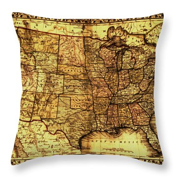 Old Map United States Throw Pillow