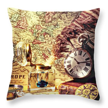 Old Maps And Ink Well Throw Pillow by Garry Gay