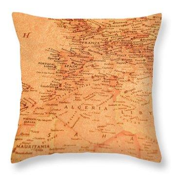 Old Maritime Map Throw Pillow