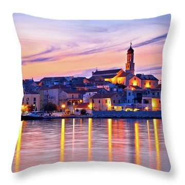 Old Mediterranean Town Of Betina Sunset View Throw Pillow by Brch Photography