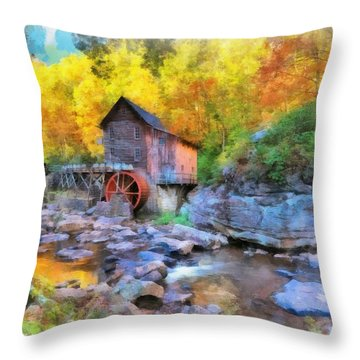 Old Mill Aquarelle Throw Pillow