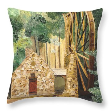 Throw Pillow featuring the painting Old Mill At Berry College by Rodney Campbell