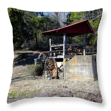 Throw Pillow featuring the photograph Old Mill Of Guilford Pumphouse by Sandi OReilly