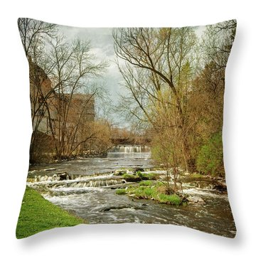 Old Mill On The River Throw Pillow