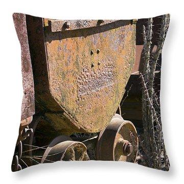 Old Mining Car Throw Pillow by Phyllis Denton