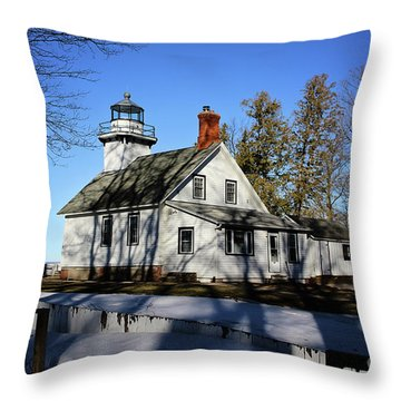 Old Mission Lighthouse Throw Pillow