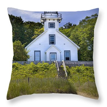 Old Mission Point Lighthouse In Grand Traverse Bay Michigan Number 2 Throw Pillow